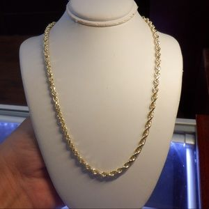 14k solid yellow real gold rope chain brand new